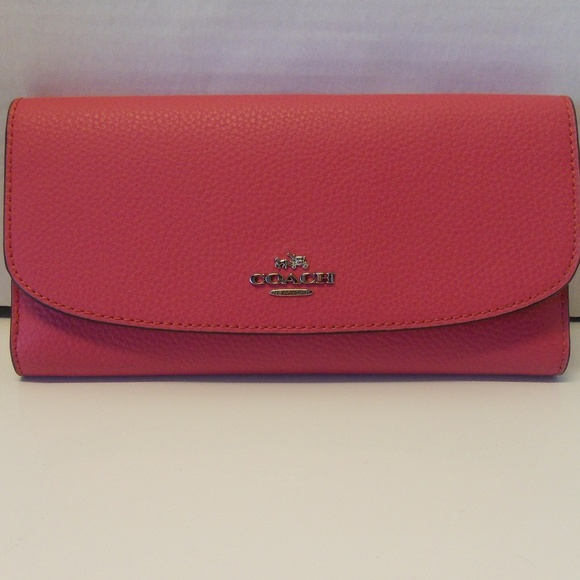 Coach Handbags - New Coach Pebbled Leather Wallet F16613 in Majenta